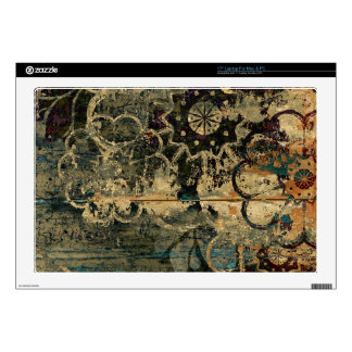 "Painted floral on wood artwork. 17"" laptop skins"