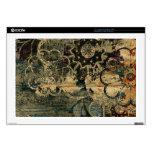 "Painted floral on wood artwork. skins for 17"" laptops"