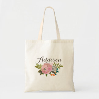 Painted Floral Personalized Girls Canvas Tote