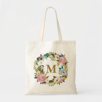 Painted Floral Personalized Monogram Canvas Bag
