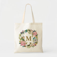 Painted Floral Personalized Monogram Canvas Bag at Zazzle
