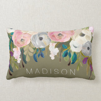 Painted Floral Personalized Name Cushion Pillow