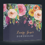"""Painted Floral Personalized Portfolio Binder<br><div class=""""desc"""">Gorgeous bright spring acrylic floral design background... so soft and feminine and beautiful! modern but vintage style, chic, stylish, 3 ring binder template that you can personalize easily yourself here and now online and have them delivered to your door! Gorgeous quality printing. To personalize with your own text details just...</div>"""