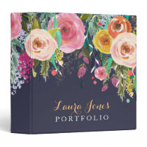 Painted Floral Personalized Portfolio Binder