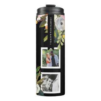 Painted Floral Photo Collage Personalized Names Thermal Tumbler