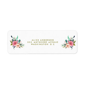 Painted Floral Return Address Stickers
