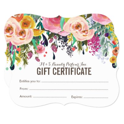 Painted Floral Salon Gift Certificate Template Zazzle