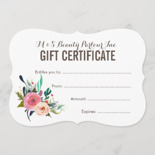 Certificate gifts on zazzle painted floral salon gift certificate template maxwellsz
