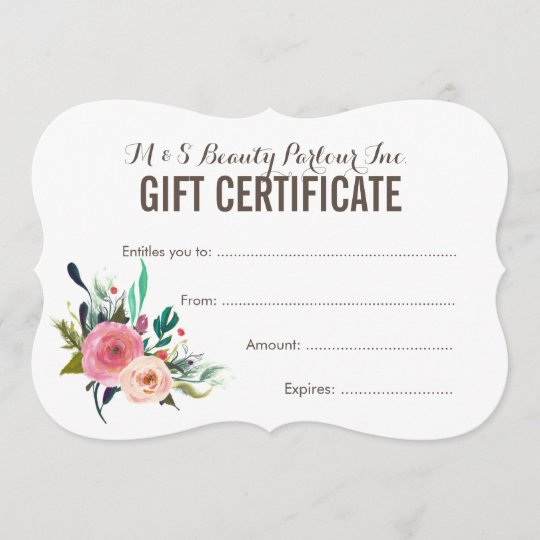 painted floral salon gift certificate template zazzle com