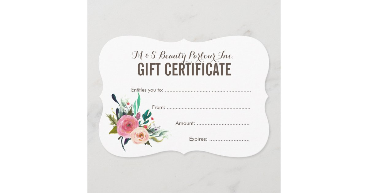painted floral salon gift certificate template