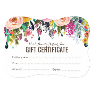 Painted Floral Salon Gift Certificate Template 5x7 Paper Invitation Card