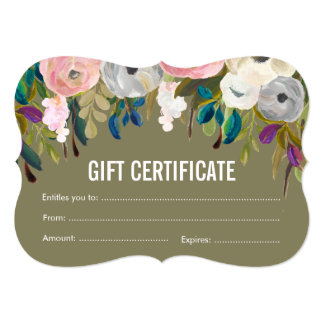 Painted Floral Salon Gift Certificate Template Card