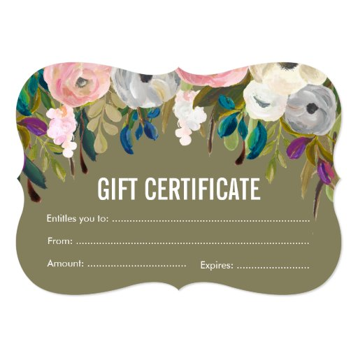 Painted floral salon gift certificate template card zazzle for Zazzle gift certificate
