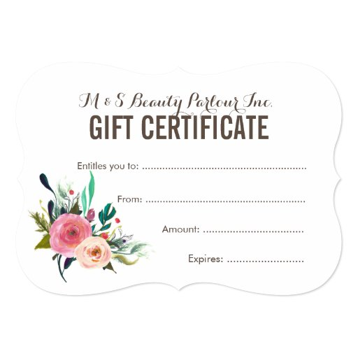 Painted Floral Salon Gift Certificate Template Card Zazzle