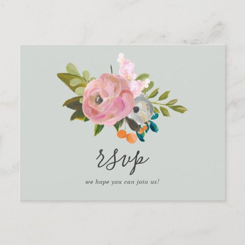 Painted Floral Song Request RSVP Postcard