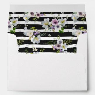 Painted Floral Striped Pattern -  Wedding Envelope