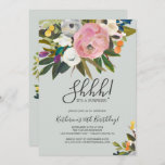 """Painted Floral Surprise Party Invitation<br><div class=""""desc"""">This painted floral surprise party invitation is perfect for a modern event. The elegant and romantic design features beautiful painted acrylic flowers in blush pink and white,  with pops of colorful purple,  blue,  orange and yellow. This invitation can be used for a birthday,  retirement,  or any surprise party.</div>"""