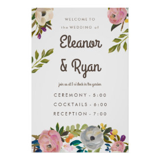Painted Floral Wedding Sign Poster