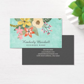 Painted Florals Business Card by Orabella at Zazzle