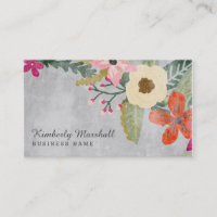 Painted Florals Business Card / Pink & Gray