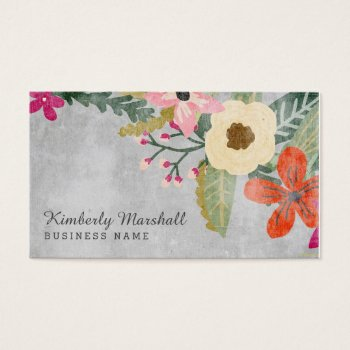 Painted Florals Business Card / Pink & Gray by Orabella at Zazzle
