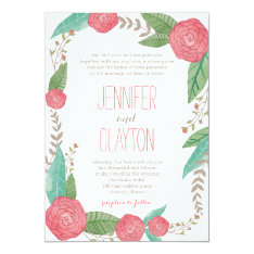Painted Florals Wedding Invitations at Zazzle