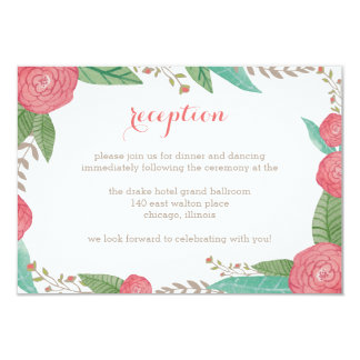 Painted Florals Wedding Reception Card