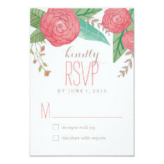 """Painted Florals Wedding Response / RSVP Cards 3.5"""" X 5"""" Invitation Card at Zazzle"""