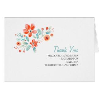 painted flower cute modern wedding thank you card