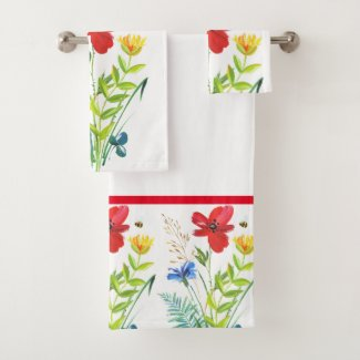 Painted Flower Garden Bathroom Towel Set