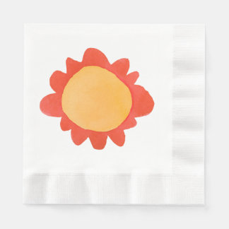Painted Flower orange 1 Coined Lunch Paper Napkins