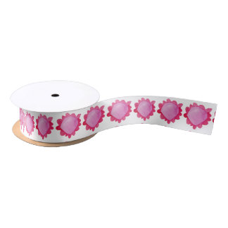 """Painted Flower red 2 Satin Ribbon 1.5"""""""