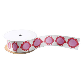 """Painted Flower red Satin Ribbon 1.5"""""""