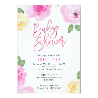 Painted Flowers Baby Shower Invitation