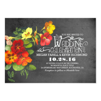 painted flowers chalkboard wedding invitation