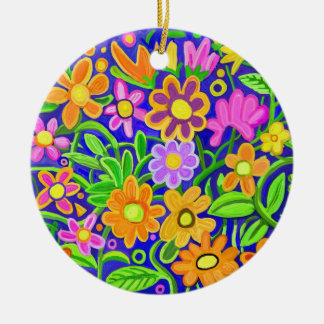Painted Flowers Double-Sided Ceramic Round Christmas Ornament