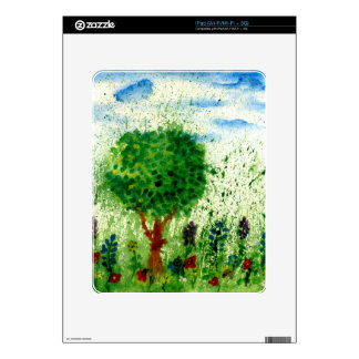 Painted Flowers Feild Skin For The iPad