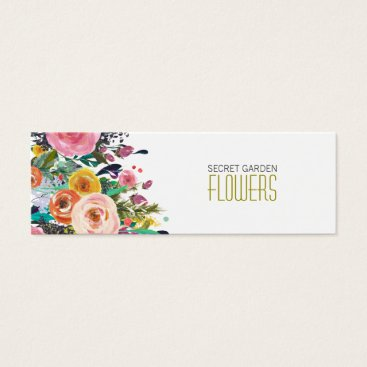 Professional Business Painted Flowers Florist Skinny Business Cards
