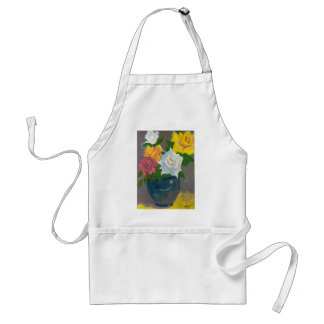 Painted Flowers in Vase Adult Apron