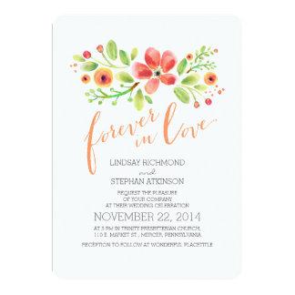 painted flowers modern cute wedding invitation