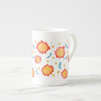 Painted Flowers orange Bone China Mug