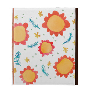 Painted Flowers orange Caseable iPad Folio iPad Case