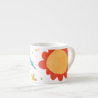 Painted Flowers orange Espresso Mug