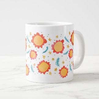 Painted Flowers orange Jumbo Mug