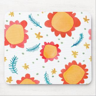 Painted Flowers orange Mousepad