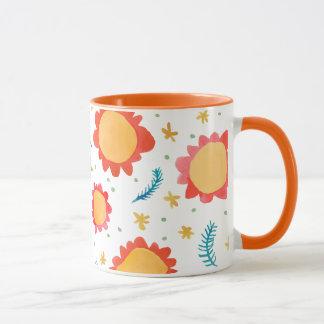 Painted Flowers orange Ringer Mug
