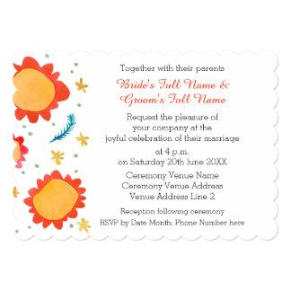 Painted Flowers orange Scalloped 5x7 Invitation