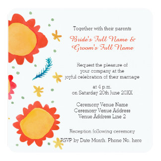 Painted Flowers orange Square Wedding Invitation