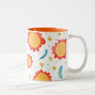 Painted Flowers orange Two-Tone Mug
