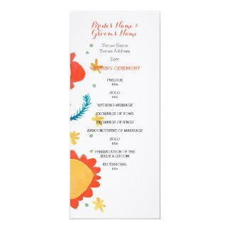 Painted Flowers orange Wedding Program 4x9.25 Paper Invitation Card